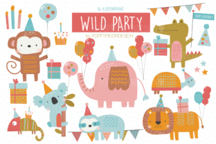 Print on Demand: Wild Party Clipart Set Graphic Illustrations By poppymoondesign