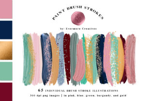 Print on Demand: Brush Strokes Graphics Bundle Pink Navy Graphic Objects By Evermore Creatives