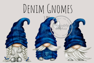 Print on Demand: Denim Gnomes PNG Clipart Graphic Illustrations By Celebrately Graphics