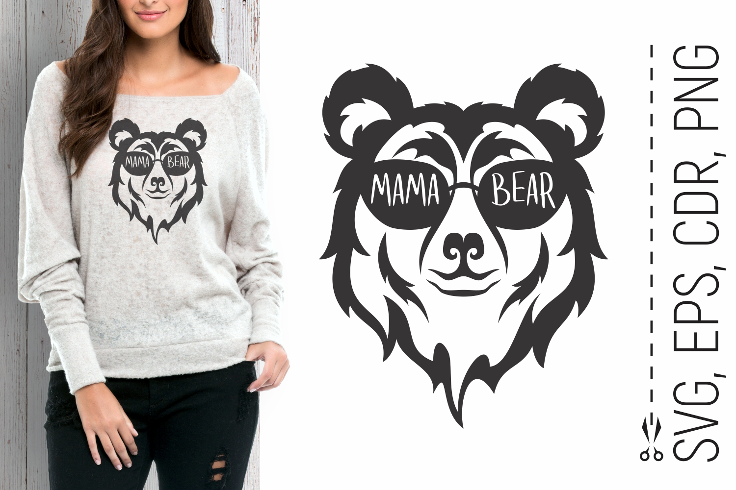 Mama Bear Head with Glasses Svg SVG File