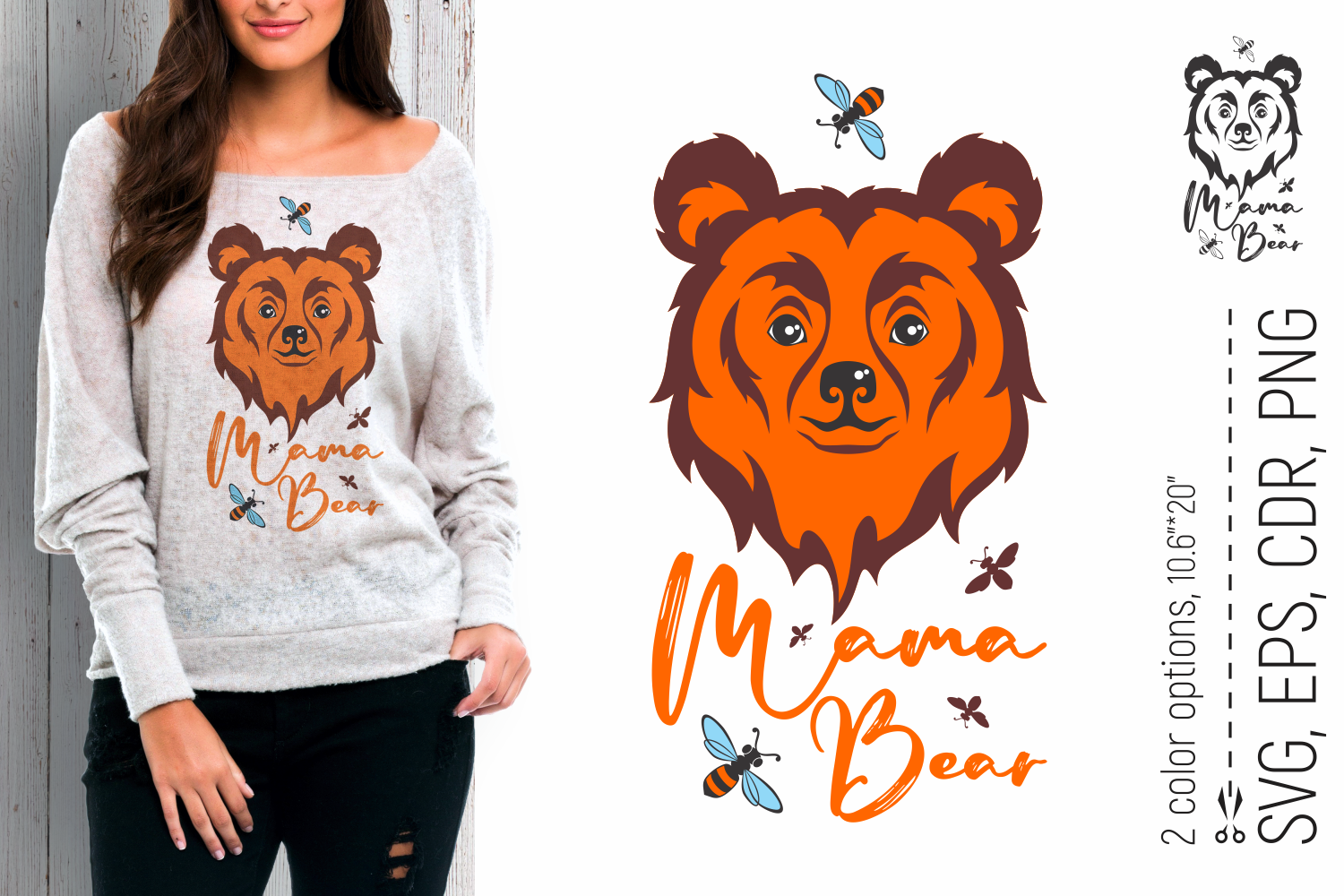 Mama Bear and Bees Mother's Day SVG SVG File