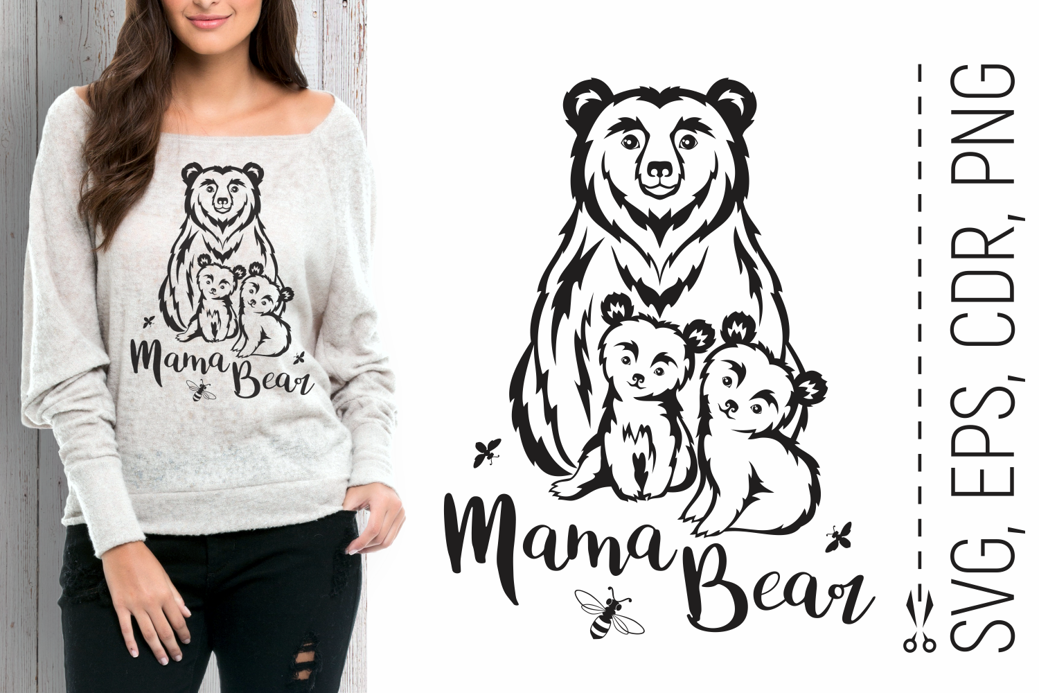 Mama Bear with Babies Mother's Day SVG SVG File