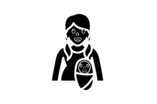 Mom Icon Bring Cute Baby Black Filled Graphic Icons By Ladixstudio