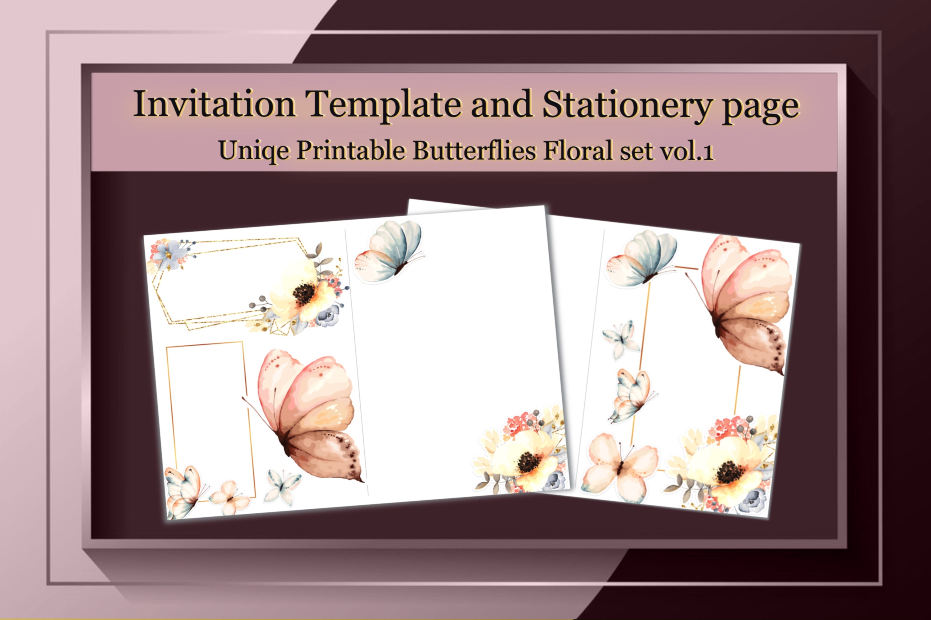 Printable Stationery,Floral Butterflies SVG File