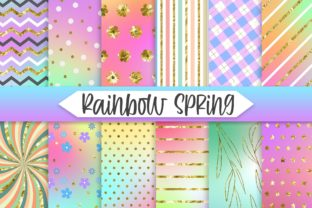 Print on Demand: Rainbow Spring Glitter Background Graphic Backgrounds By PinkPearly