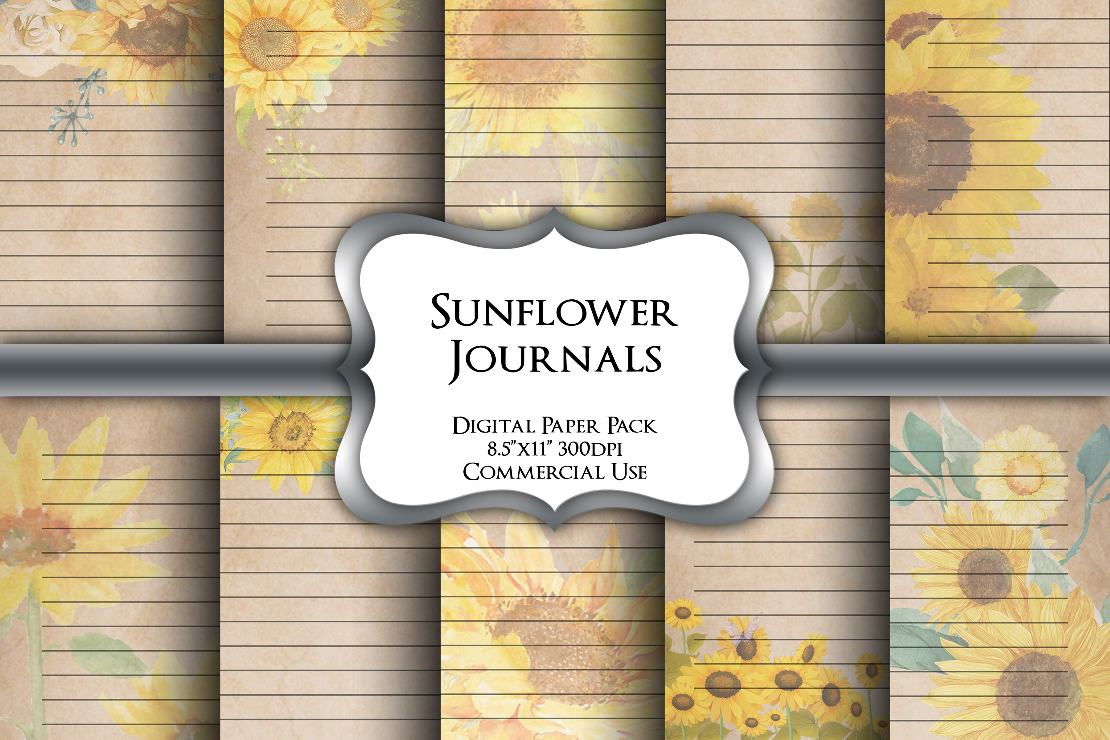 Sunflower Lined Writing Paper Pack SVG File