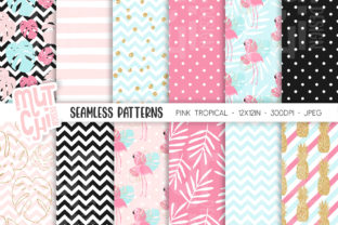 Print on Demand: Tropical Flamingo Seamless Pattern 02 Graphic Muster By MutchiDesign