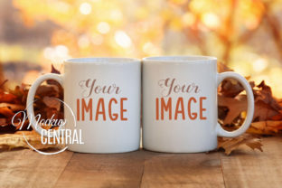 2 Matching Fall Coffee Mug Cups Mockup Graphic Product Mockups By Mockup Central