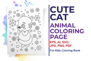 Cute Cat Coloring Page for Kids Graphic Coloring Pages & Books Kids By ArtXpert