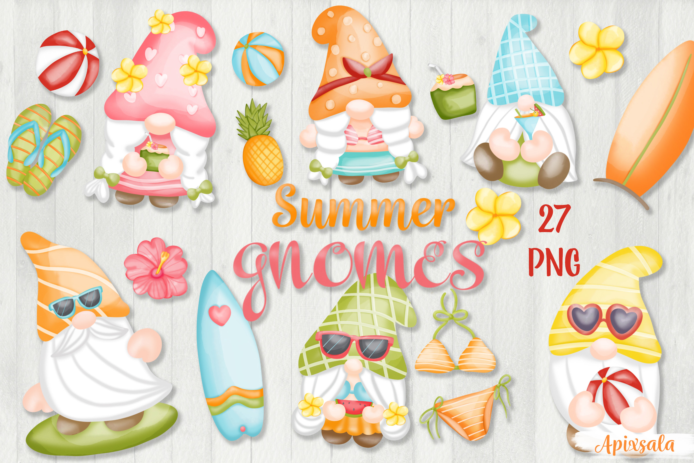 Gnome Summer Watercolor PNG-Sublimation SVG File