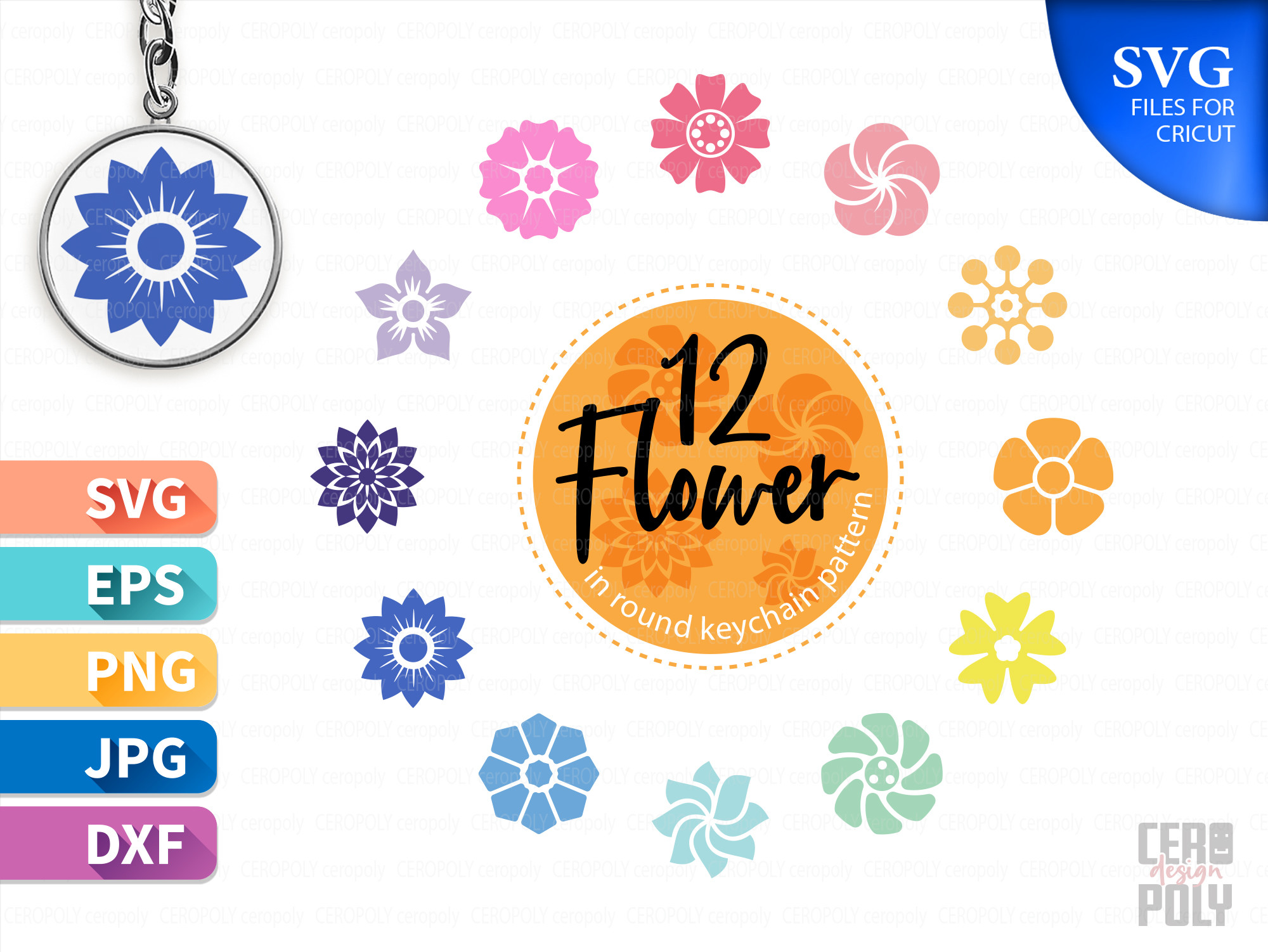 Keychain Flower Patter Circle SVG File