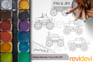 Print on Demand: Monster Truck Coloring Graphic Coloring Pages & Books Kids By Revidevi