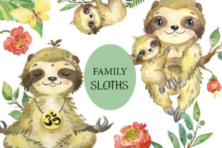 Sloths Watercolor Clipart, Sloth Family Graphic Add-ons By EvArtPrint