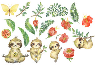 Sloths Watercolor Clipart, Sloth Family Graphic Add-ons By EvArtPrint 2
