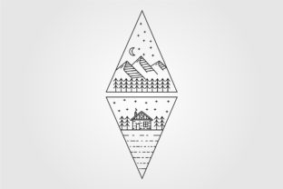 Cabin and Cottage Line Art Logo Graphic Logos By ikershandy