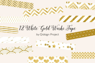 Print on Demand: 12 White Gold Washi Tape Bundle Graphic Illustrations By qidsign project