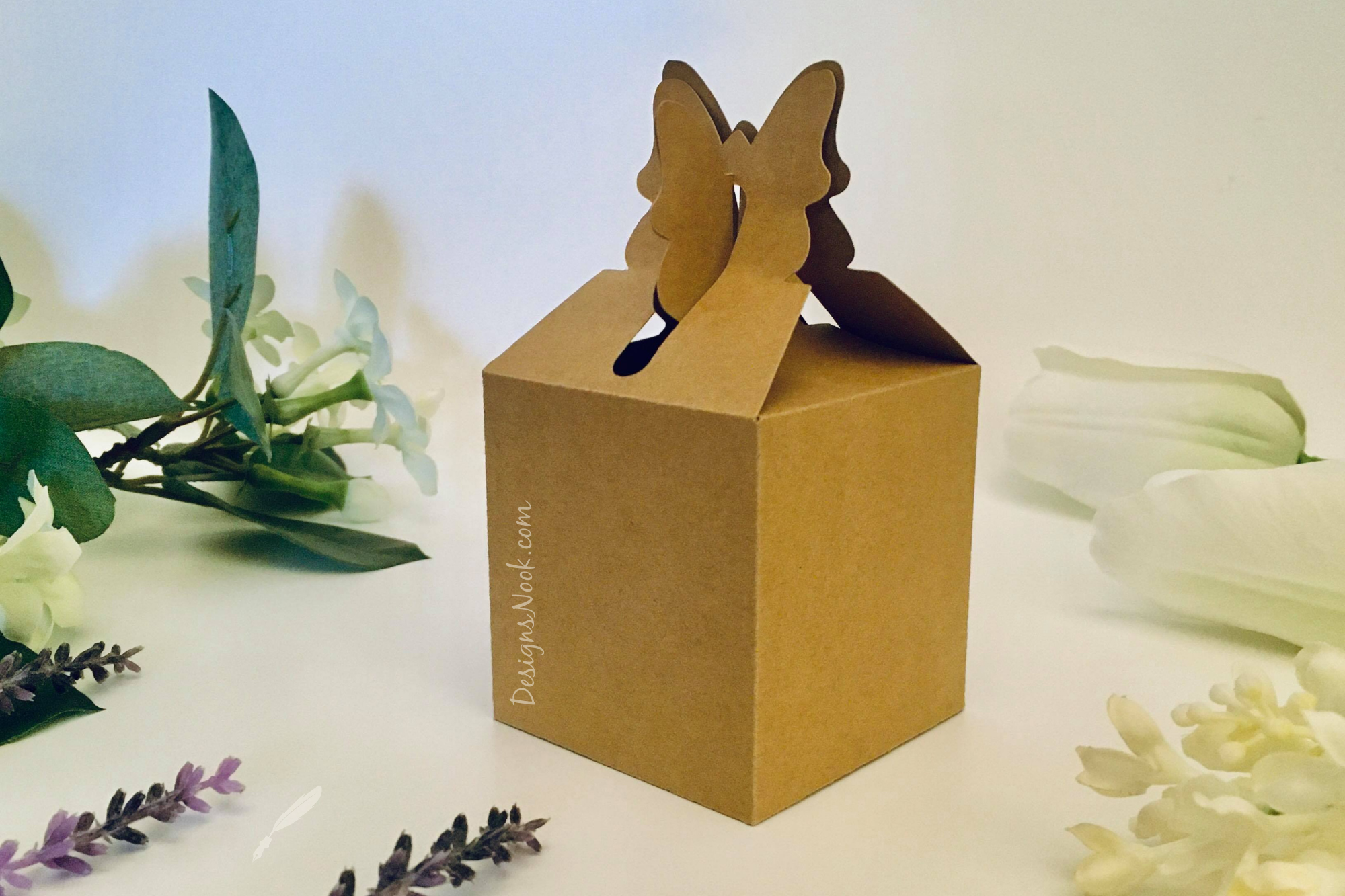 Butterfly Top Box Template - Gift Box,... SVG File