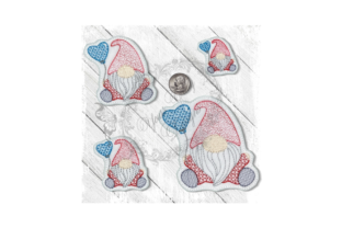 Gnome Sitting Balloon Heart Motif Accessories Embroidery Design By Yours Truly Designs