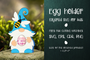 Print on Demand: Gnome and Bee Egg Holder Template SVG Graphic 3D SVG By Olga Belova