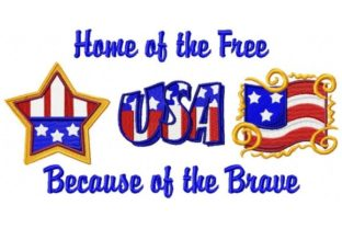Home of the Free Independence Day Embroidery Design By Sew Terific Designs