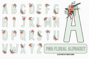 Print on Demand: Mint Floral Alphabet PNG Clipart Graphic Illustrations By illuztrate