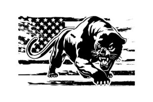Print on Demand: Panther Cat Grunge American Flag Graphic Logos By SunandMoon