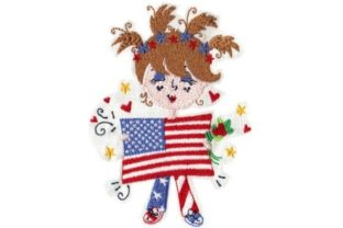 Patriotic Girl Toodle Independence Day Embroidery Design By Sew Terific Designs