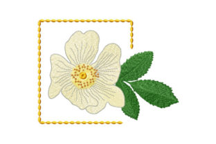 Print on Demand: Rosehip Flower in Frame Spring Embroidery Design By EmbArt