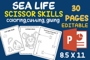 Sea Life Scissor Skills Cutting Practice Graphic Teaching Materials By MOBAAMAL