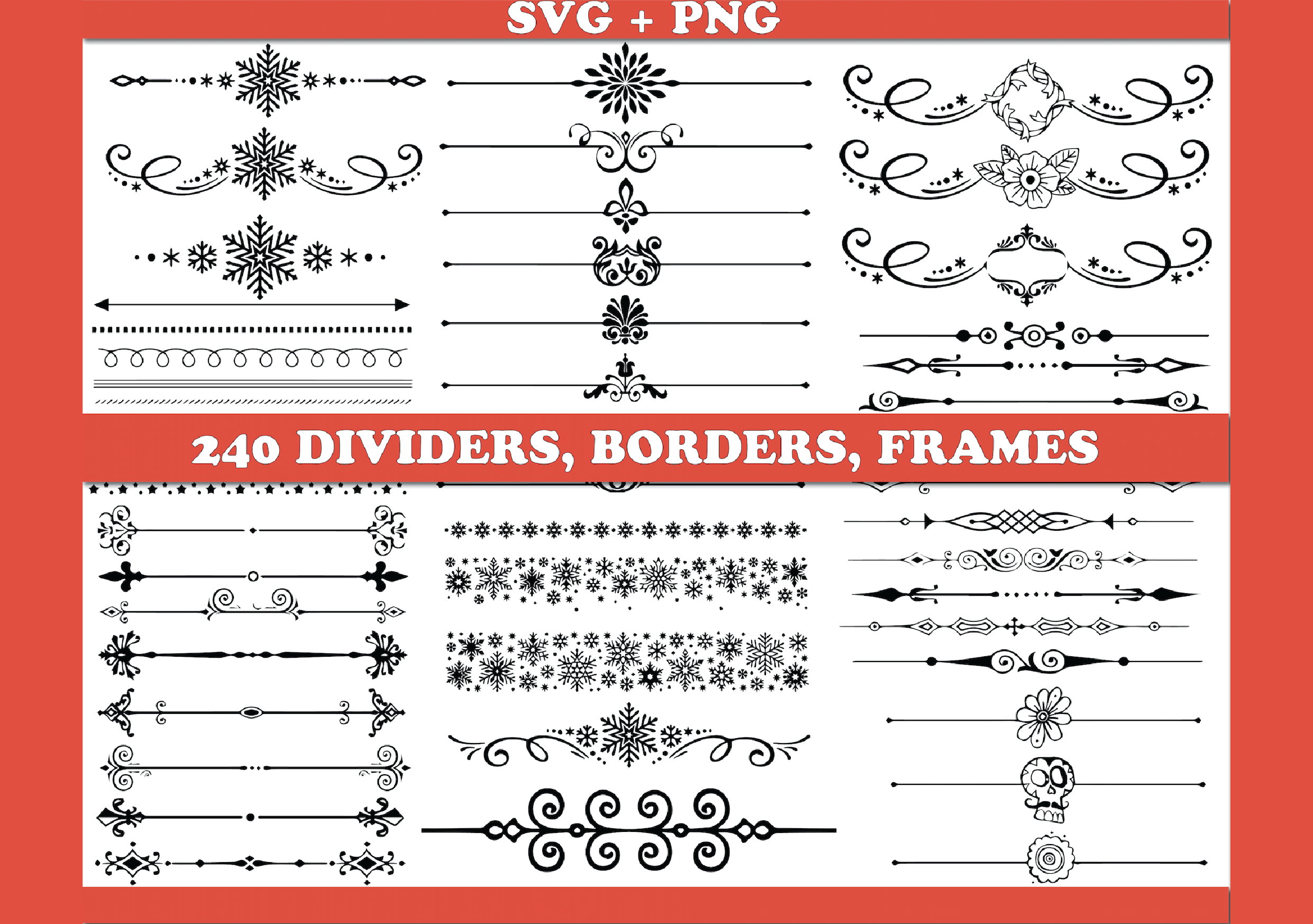 Text Dividers Borders SVG File