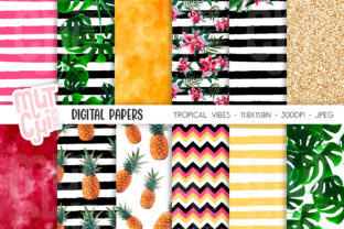 Print on Demand: Tropical Vibes Digital Paper Set Graphic Backgrounds By MutchiDesign