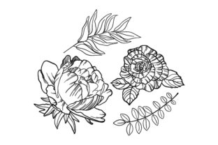 Line Art Flowers and Leaves Designs & Drawings Craft Cut File By Creative Fabrica Crafts