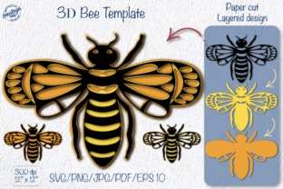 Bee Layered 3D Template for Cricut Graphic 3D SVG By Createya Design