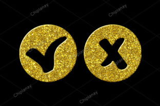 Print on Demand: Checkmark Yes No Golden Icon Logo Graphic Illustrations By Chiplanay