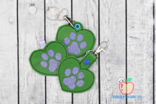 Dog Paw ITH Keyfob Design Dogs Embroidery Design By embroiderydesigns101