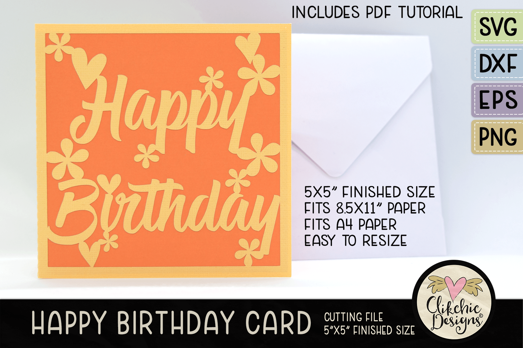 Floral Happy Birthday Card SVG File