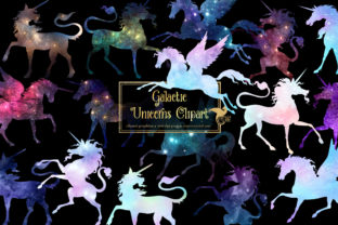 Print on Demand: Galactic Unicorns Clipart Graphic Illustrations By Digital Curio