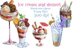 Ice Cream and Dessert Clipart Graphic Illustrations By Marine Universe