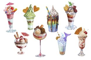 Print on Demand: Ice Cream and Dessert Clipart Graphic Illustrations By Marine Universe 2