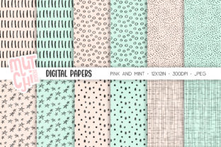 Print on Demand: Pink and Mint Doodles Digital Paper Set Graphic Backgrounds By MutchiDesign