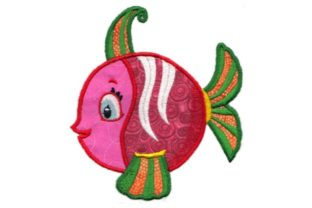 Pink and Red Tropical Fish Fish & Shells Embroidery Design By Sew Terific Designs