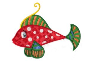 Red Tropical Fish with Dots Fish & Shells Embroidery Design By Sew Terific Designs