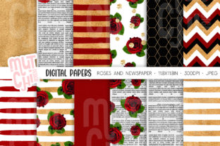 Print on Demand: Roses Newspaper Digital Paper Set Graphic Backgrounds By MutchiDesign