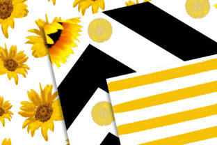 Print on Demand: Sunflower Digital Paper Set Graphic Backgrounds By MutchiDesign 3