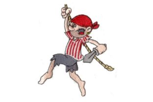 Swinging Pirate Pirates Embroidery Design By Sew Terific Designs
