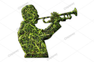 Print on Demand: Trumpet Music Grass Green Graphic Illustrations By Chiplanay