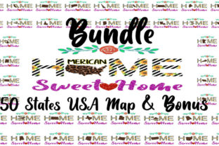 Print on Demand: USA State Home Sweet Home with Sunflowers Bundle By ArtPrintables Designs