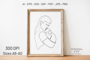 Print on Demand: Wall Art / Continuous Line, Mothers Day Graphic Illustrations By Momixzaa