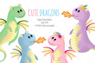 Cute Dragons Clipart Graphic Illustrations By ATdesigns