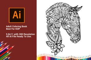 Print on Demand: Horse Adult Coloring Book for KDP Graphic Coloring Pages & Books Adults By DigitalMGoods